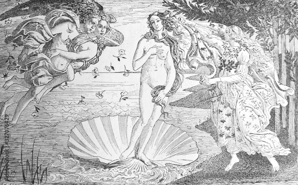Painting The Birth of Venus by Sandro Boticcelli in the old book La Peinture Italienne, by G. Lafenestre, 1885, Paris