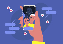 Viral Content Conceptual Illustration, Likes, Shares And Comments Popping Up On The Mobile Screen, Visual Content For Millennials, Social Media Marketing
