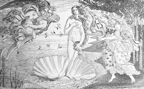 Fotografía Painting The Birth of Venus by Sandro Boticcelli in the old book La Peinture Italienne, by G