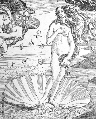Fotografia Painting The Birth of Venus (detail) by Sandro Boticcelli in the old book La Peinture Italienne, by G