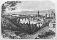 Landscape Of Florence In The Old Book Michel-Ange, By F. Koenig, 1888, Paris