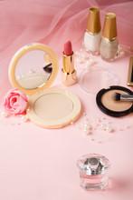 Woman's Cosmetics On Romantic ...