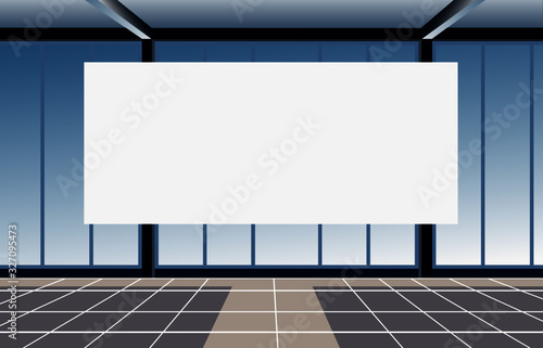 Fototapeta empty conference room with big window and white board. Vector illustration obraz