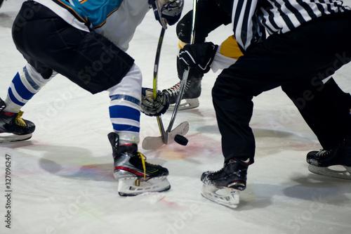 Ice hockey players play ice hockey Canvas Print