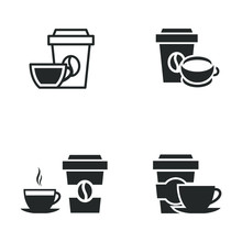 Coffee Cup And Glass Icon Temp...