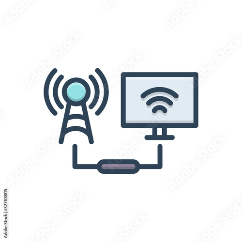 Color illustration icon for connected Wallpaper Mural
