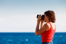 Adult Woman Taking Pictures