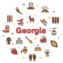 Georgia Color Linear Icon Set. Georgian Culture, Food And Traditions
