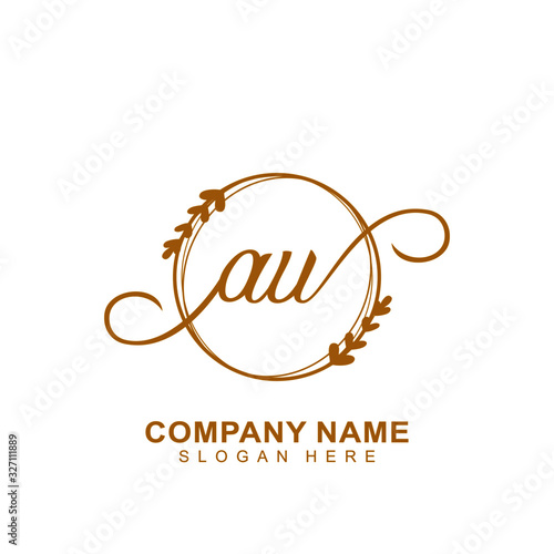 AU Luxury vector initial logo, handwriting logo of initial signature, wedding, fashion, jewerly, boutique, floral and botanical with creative template for any company or business Canvas Print