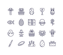 Easter Eggs And Happy Easter Concept Of Icons Set, Line Style Design