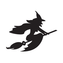 Halloween Witch On A Broomstic...