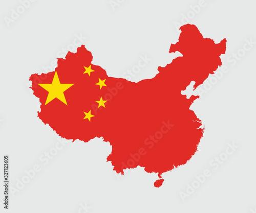Obraz Map and flag of China - fototapety do salonu