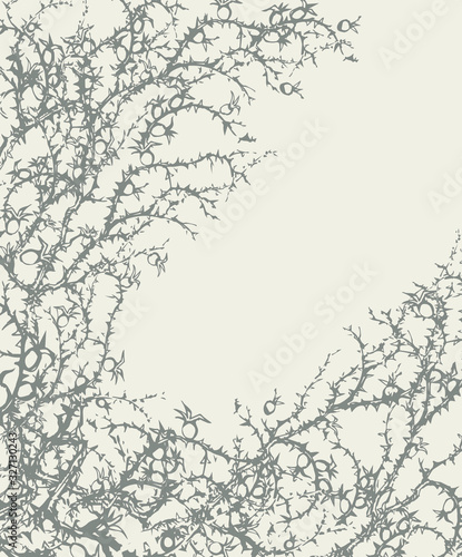 Branch of Blackthorn. Vector drawing Canvas Print