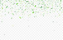 Colorful Confetti For Saint Patrick's Day. Celebration Carnival Falling Shiny Glitter Confetti. Luxury Greeting Card. Vector Illustration