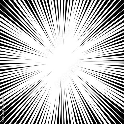 Comic book background. Black and white radial lines speed frame. Element of speed or superhero. Vector illustration