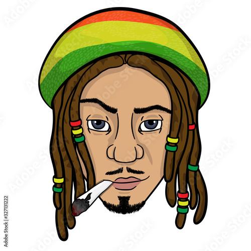 Photo the face of a black rastaman who smokes