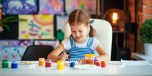 Funny Child Girl Draws Laughin...