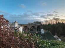 Knaresborough Railway Viaduct View With Passing Train