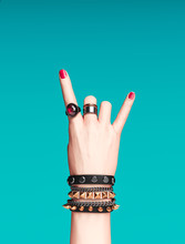 Rock Hand Sign, Female Hand Pu...