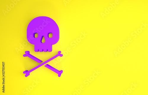 Photo Purple Skull on crossbones icon isolated on yellow background