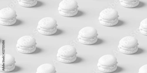 Hamburger fast food pattern one color white background. Burger art banner, Minimal junk food concept. 3d illustration.