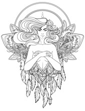 Pretty Fairy Elf. Portrait Of Young Woman View With Long Hair. Pixie Pagan Princess. Vector Isolated Illustration. Fantasy, Spirituality, Occultism, Tattoo. Art Nouveau Inspired. Sticker Design.