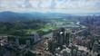shenzhen cityscape sunny day hong kong border river aerial panorama 4k tilt shift china