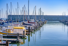 ヨットが並ぶ港の風景