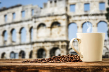 Black Coffee On A Wooden Table In The Center Of Rome And Free Space For An Advertising Product