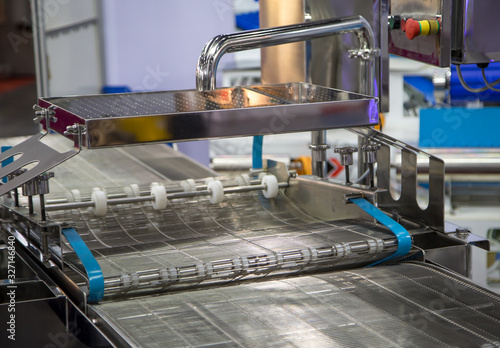 Empty wire belt conveyor in production line in food industry Canvas Print