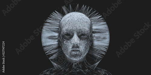 Obraz na plátne Concept of mistic mask or face. 3d illustration