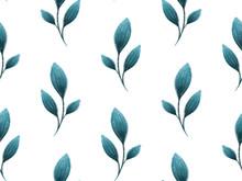 Blue Gouache Painted Leaves, S...