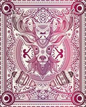 Vector Illustration Deer Head Mandala Pattern Style Good For Print On Demand