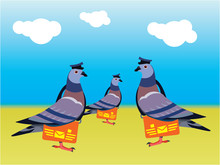 Doves With Letter Icon Flat Design