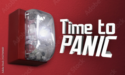 Photo Time to Panic Scared Fear Terror Emergency Fire Alarm Words 3d Illustration