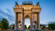 Arch Of Peace In Simplon Square Day To Night Timelapse. It Is A Neoclassical Triumph Arch