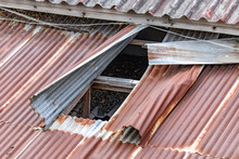 Corrugated Roof With A Hole. Tin Plates On The Roof Of Building.