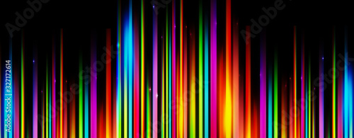 Foto Panoramic glowing blurred light stripes in motion over on abstract background