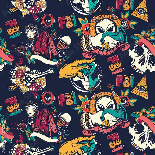 Space invaders seamless pattern Wallpaper Mural