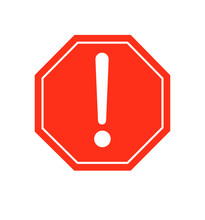 Warning Sign Red Warning Icon Vector Illustration Isolated
