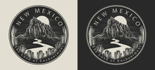 New Mexico. United States Of America (USA). The Land Of Enchantment Slogan. Travel And Tourism Concept. Template For Clothes, T-shirt Design. Vector Illustration