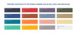 Pantone color palette for spring, summer 2020 in HEX, CMYK, RGB values. Set of pantone year color for fashion, home, interiors design, vector illustration. Pantone color swatch trend.