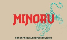 Minoru, A Font Combination Between Vintage And Modern Japanese Type Style Alphabet
