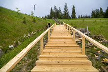 New Wooden Stairs Outdoors. Ca...