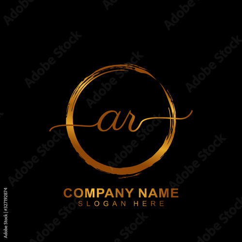 Photo AR Luxury vector initial logo, handwriting logo of initial signature, wedding, fashion, jewerly, boutique and botanical with creative template for any company or business