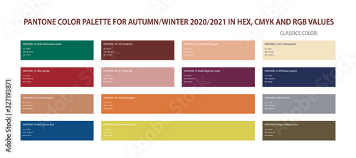 Slika na platnu Pantone color palette for autumn and winter 2020, 2021 in HEX, CMYK, RGB values