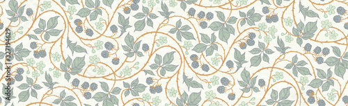 Fototapeta Floral botanical blackberry vines seamless repeating wallpaper pattern- exquisite elegance gold and blue-gray version obraz