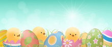 Colorful Easter Eggs And Yello...