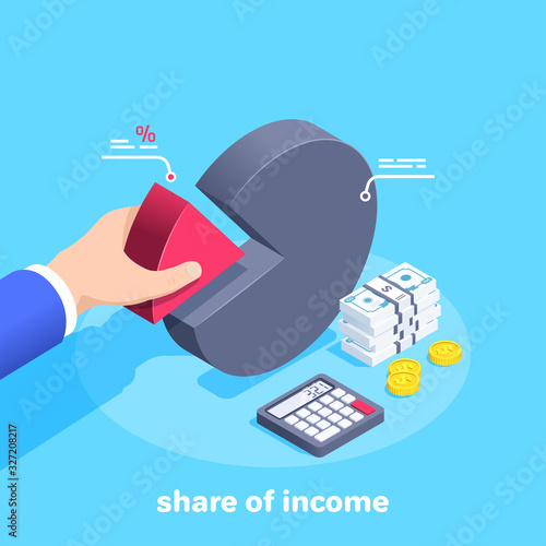 Photo isometric vector image on a blue background, a man in a business suit takes a re