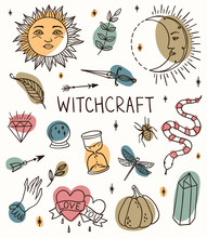 Hand Drawn Witchcraft Set With Magic Tools: Crystal, Ball, Knife, Sun Crescent, Branch, Pumpkin. Outline Doodle With Colored Spots. Perfect For Helloween Cards.
